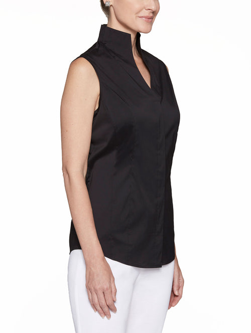 Sleeveless Stretch Cotton Blouse, Black – Misook