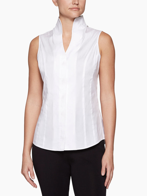 Sleeveless Stretch Cotton Blouse in the color White