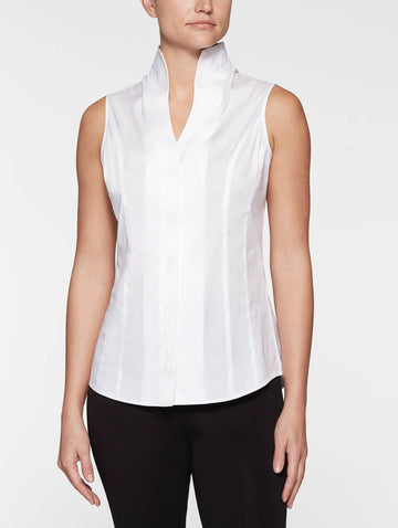 Plus Size Sleeveless Stretch Cotton Blouse, White