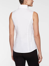 Sleeveless Stretch Cotton Blouse, White