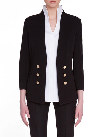 Tailored Double Button Knit Jacket, Black