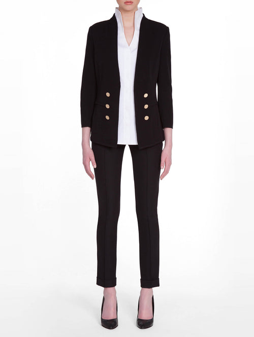 Tailored Double Button Knit Jacket in Color Black