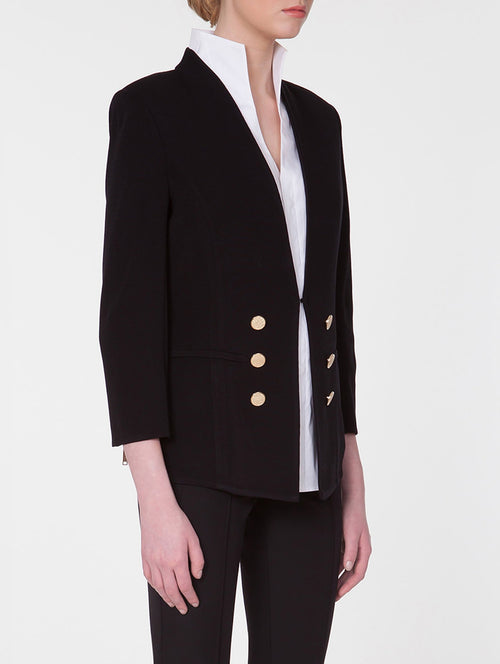 Tailored Double Button Knit Jacket in Color Black Premium Detail
