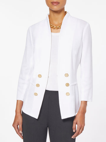 Tailored Double Button Knit Jacket, White