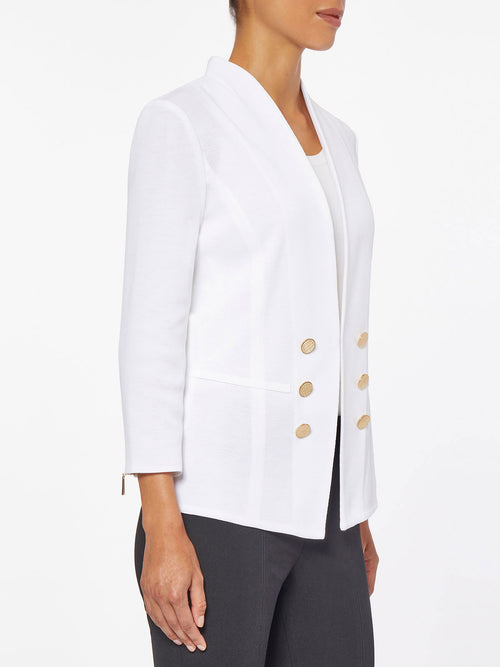 Tailored Double Button Knit Jacket, White – Misook
