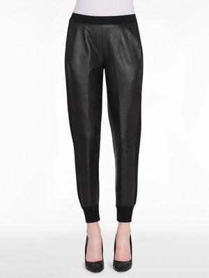 Black Leather and Knit Jogger Pant