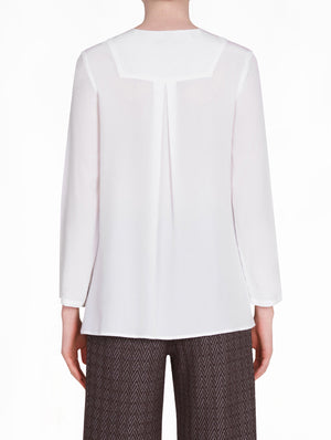 White Silk Blouse with Buttons