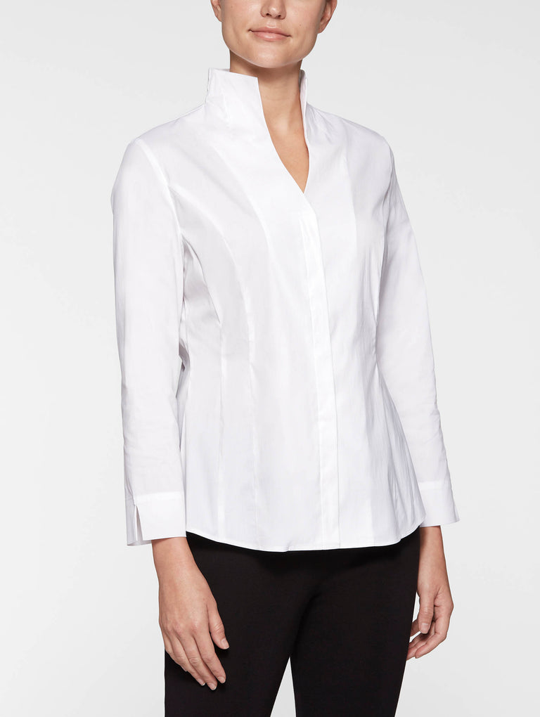 Hi-Neck Stretch Cotton Blouse, White