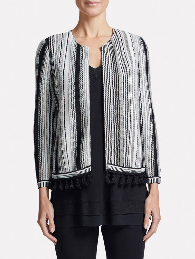 Striped Tassel Trim Jacket