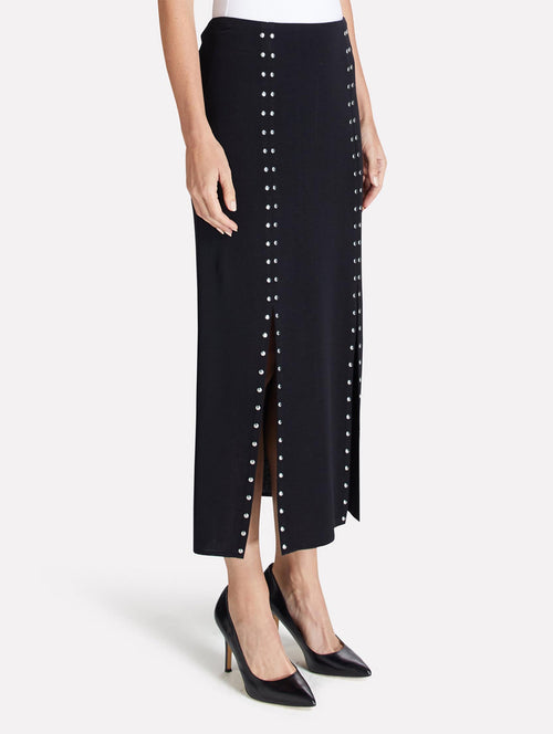 Boot Skirt with Silver Studs-Misook