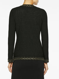 Stud Trim Textured Knit Jacket, Black