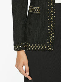 Stud Trim Textured Knit Jacket, Black – Premium Detail – Misook