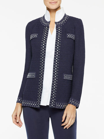 Stud Trim Textured Knit Jacket, Indigo