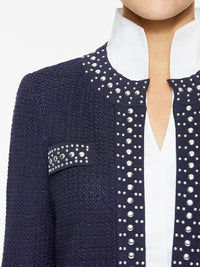 Stud Trim Textured Knit Jacket, Indigo – Premium Detail – Misook