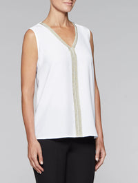 White & Gold Crepe de Chine Tank