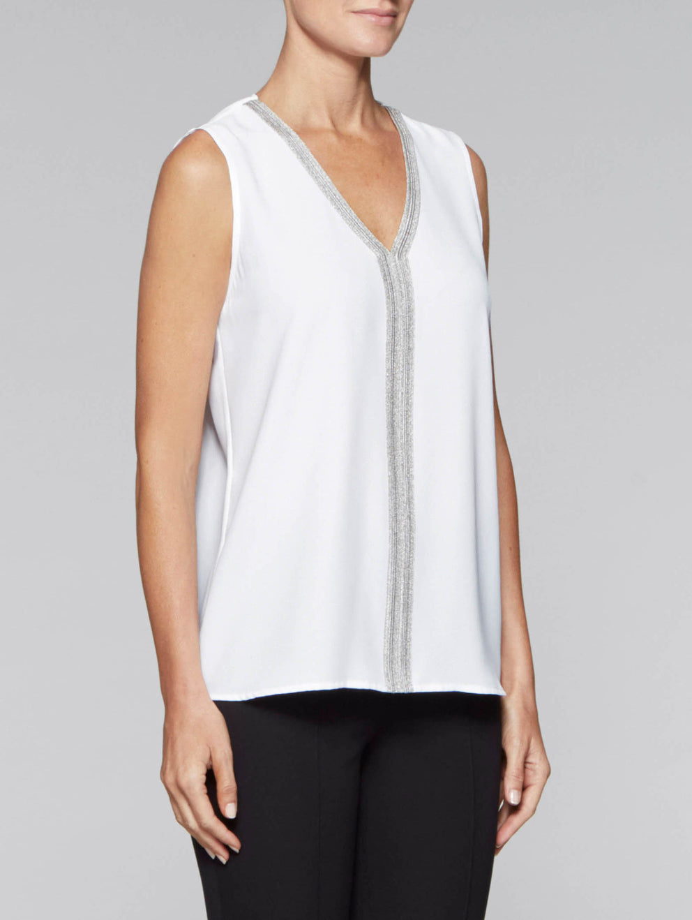 White and Silver Crepe de Chine Tank