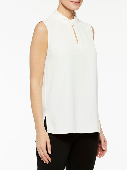 Plus Size Ruffle Neck Crepe de Chine Blouse, White – Misook