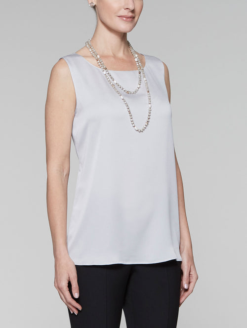 Textured Crepe de Chine Tank, Marble Grey