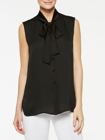 Tie-Neck Crepe de Chine Blouse, Black