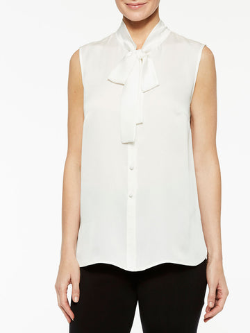 Tie-Neck Crepe de Chine Blouse, White