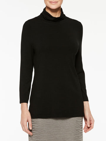 Jersey Turtleneck Top, Black