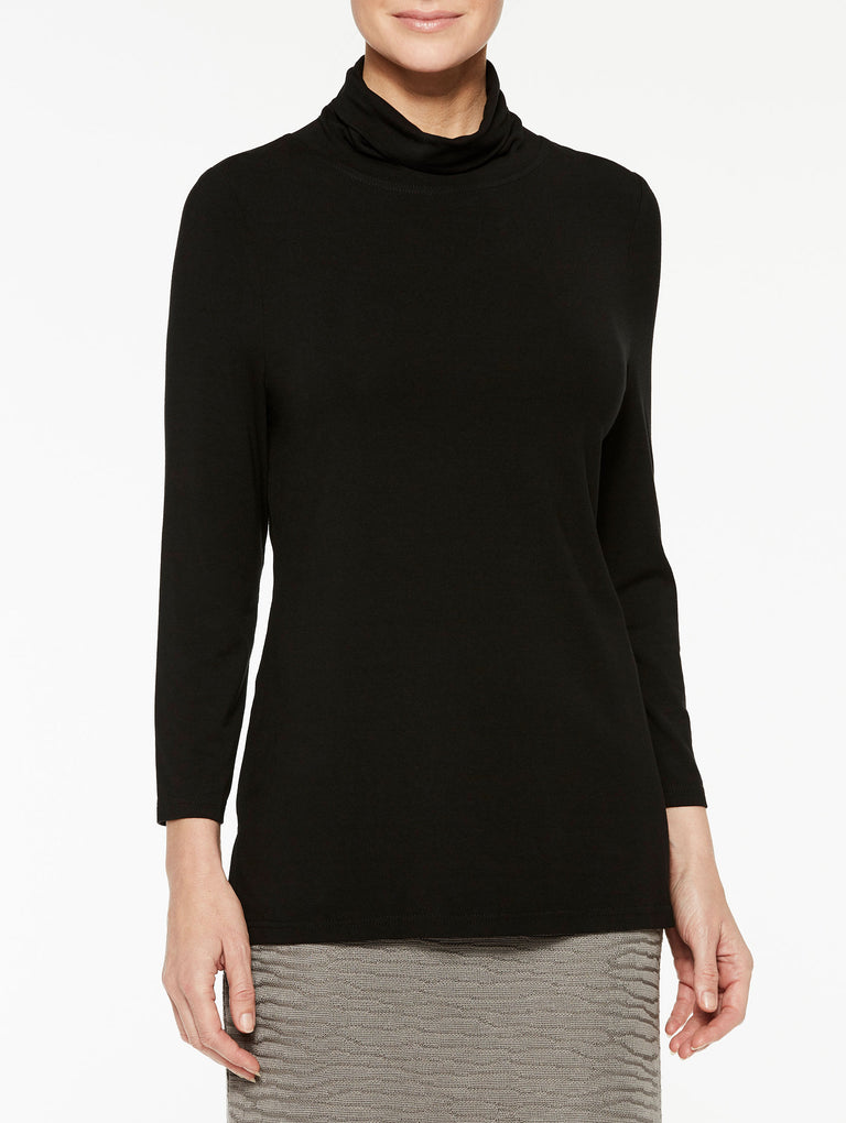 Black Jersey Turtleneck Color Black