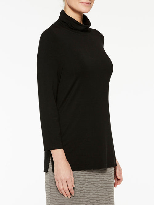 Black Jersey Turtleneck Color Black Premium Detail