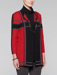 Classic Red, Black & Slate Grid Textured Jacket