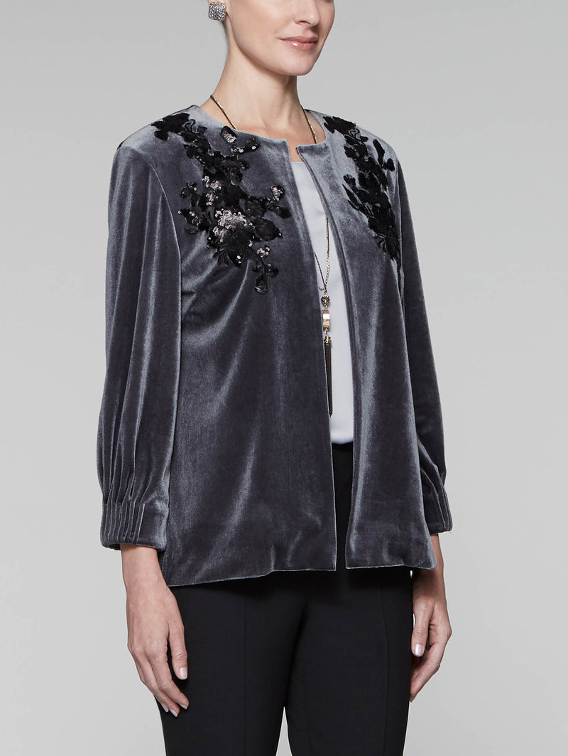 Floral Applique Velvet Jacket