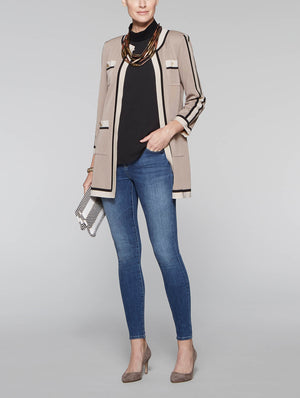 Four Pocket Contrast Jacket Color Macchiato/Black/Macadamia