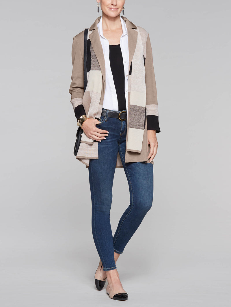 Color Block Blazer and Scarf Color Macchiato/Black/Macadamia