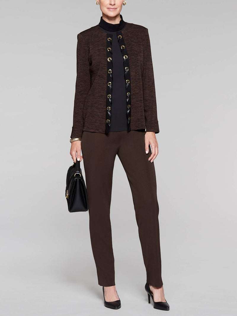 Mélange with Leather Laced Jacket Color Hickory/Black