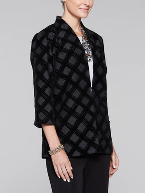 Woven Flock Pattern Jacket Color Black