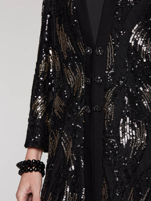 Sequin and Chiffon Duster Color Black/Gold
