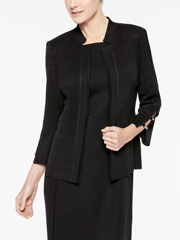 Spaced Ottoman Knit Jacket, Black