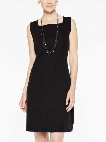 Square Neck Knit Tank Dress, Black