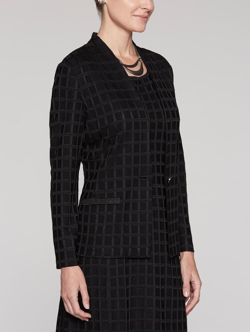 Black Grid Texture Jacket Color Black