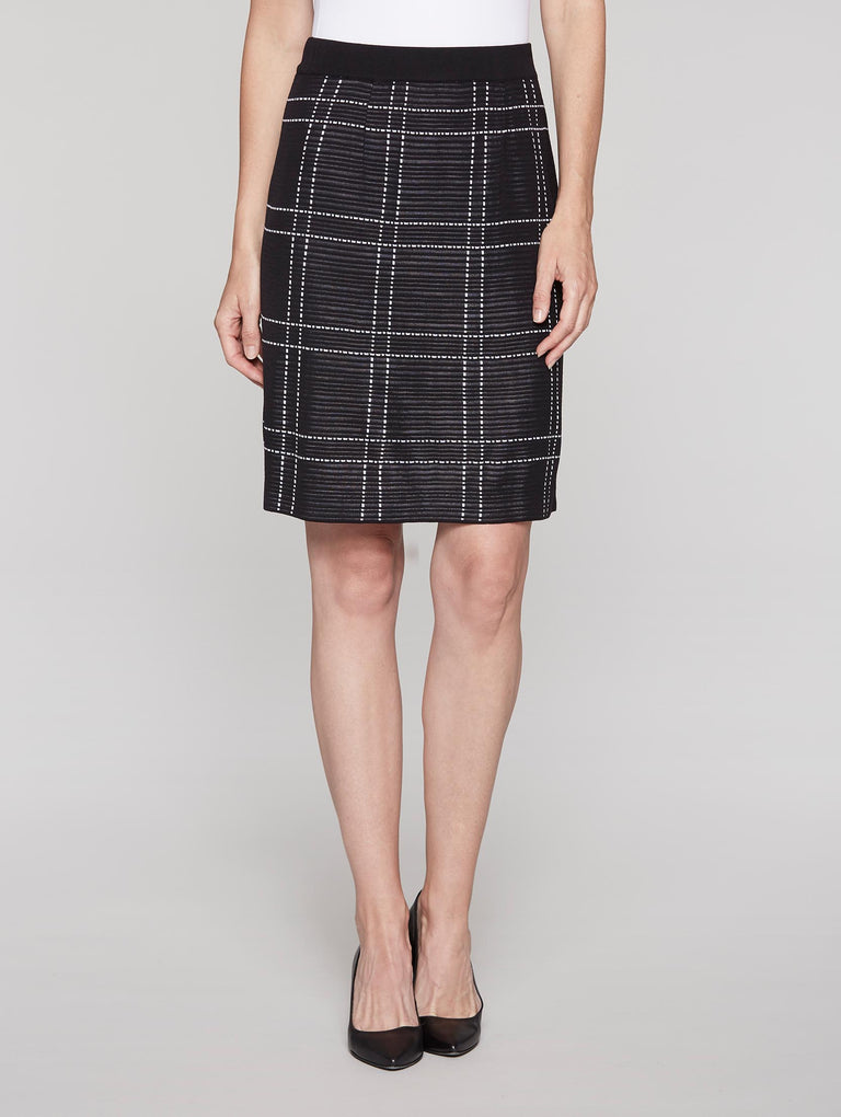 Windowpane Skirt Color Black/White