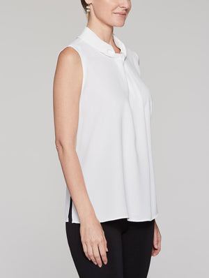 Sleeveless Mandarin Drape Blouse Color White