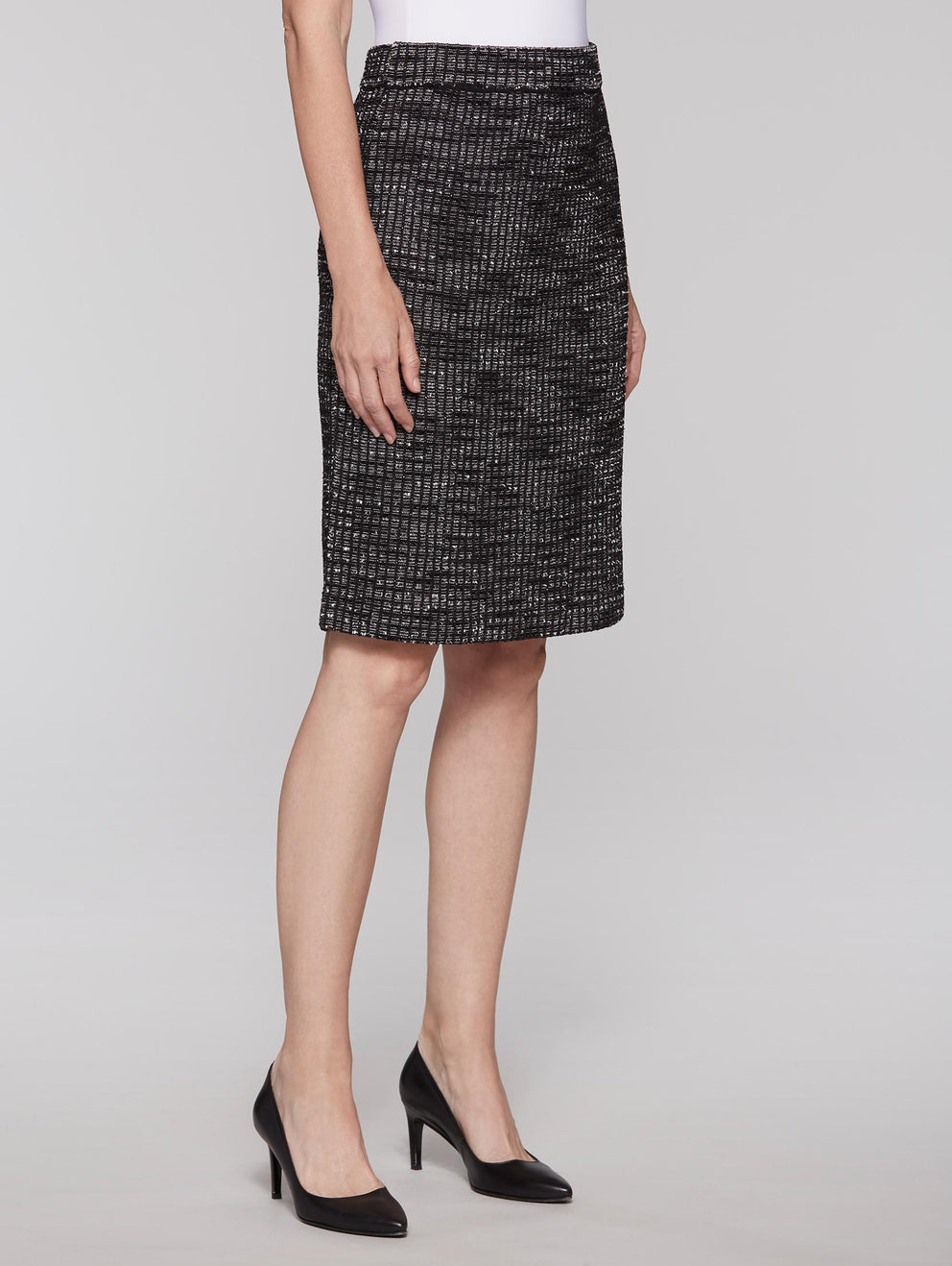 Tweed Skirt Color Black/Mist/White