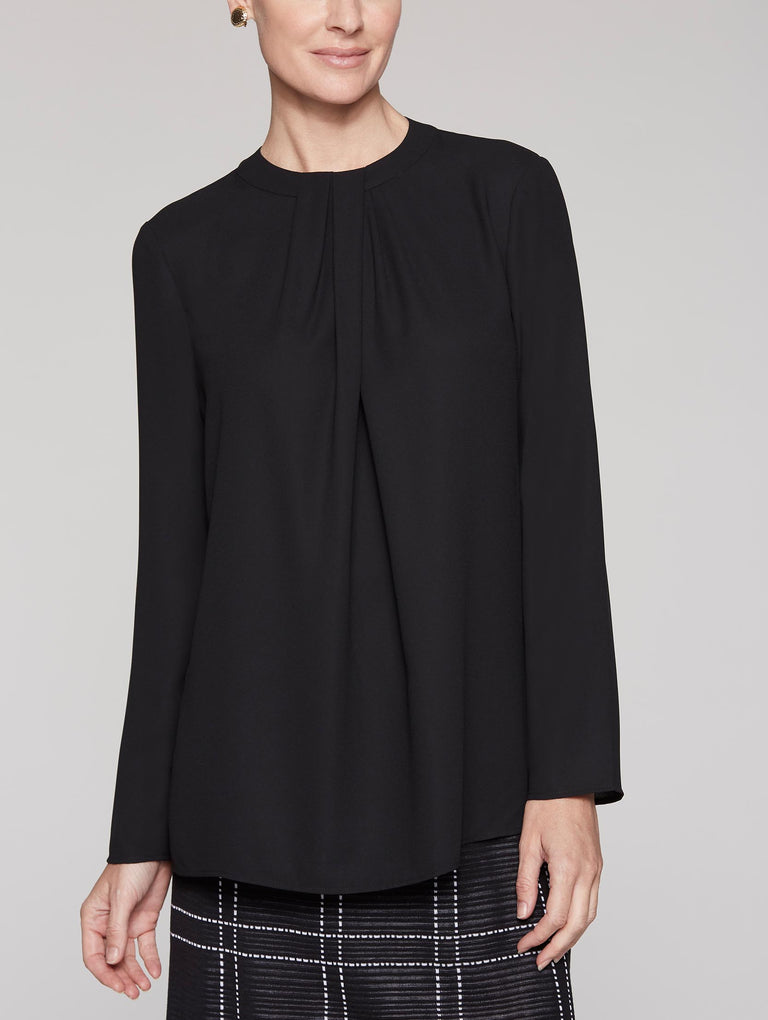Black Long Sleeve Twisted Neckline Blouse Color Black