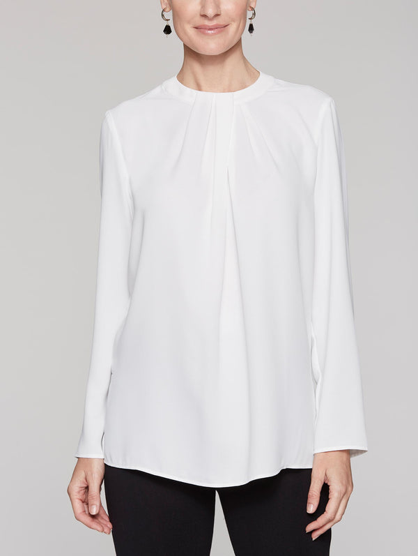 White Long Sleeve Twisted Neckline Blouse Color White
