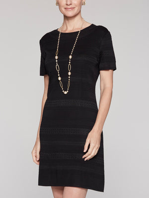 Knit Paneled Dress Color Black