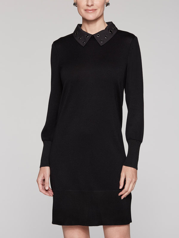 Grommet Collar Dress Color Black