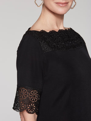 Scallop Lace Midi Dress Color Black