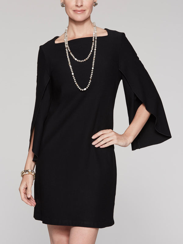 Drape Sleeve Crepe Dress Color Black