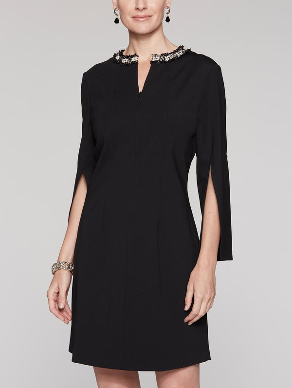 Ponte Embellished Dress Color Black