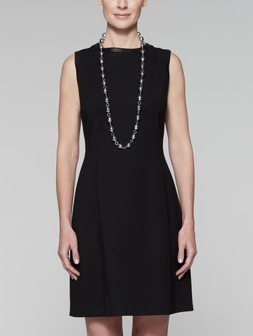 Ponte Faux Leather Trim Dress