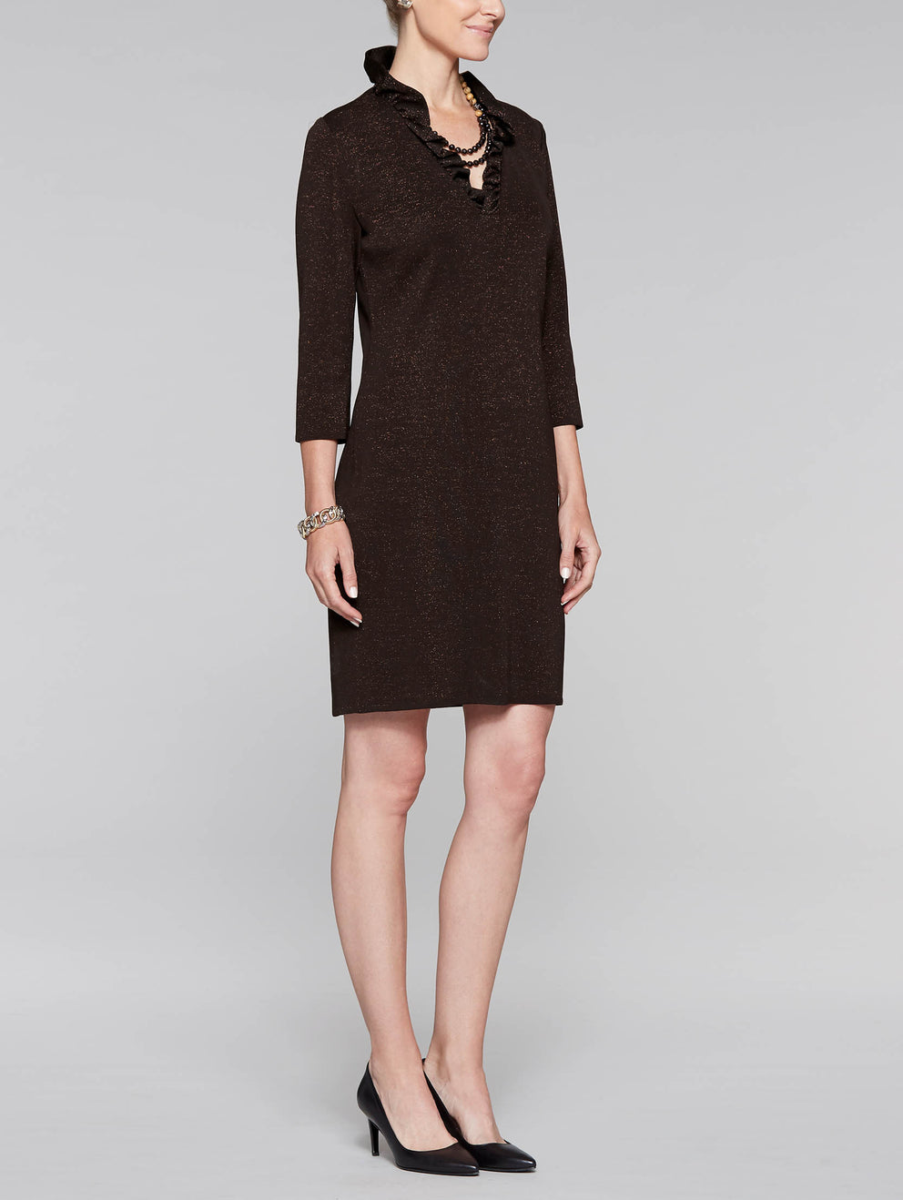 Ruffle Neck Lurex Dress Color Coffee/Gold