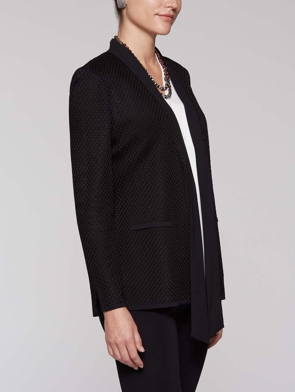 Plus Size Tie-Neck Jacket